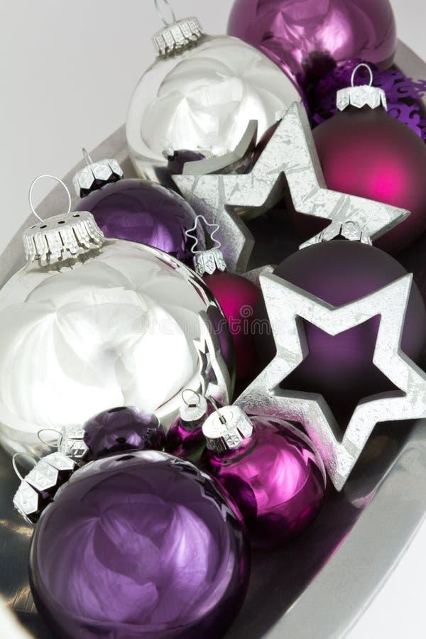 Christmas decoration shiny silver stars royalty free stock photo