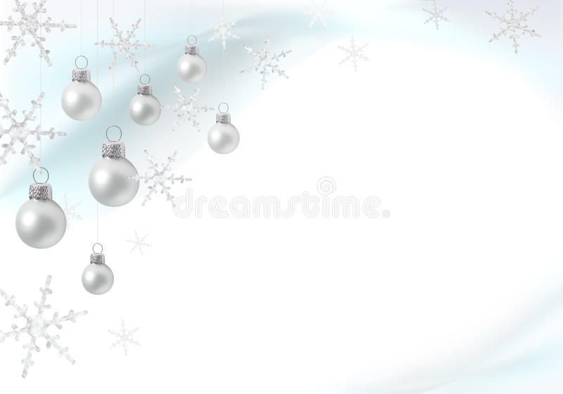 Christmas decoration with silver baubles. Delicate Christmas decoration with silver baubles stock illustration