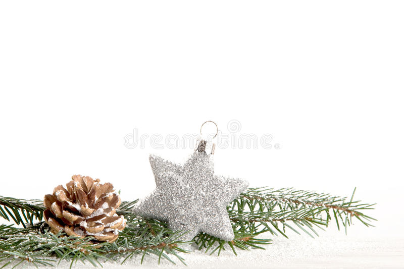 Christmas decoration with silver star. And Copy Space royalty free stock photos