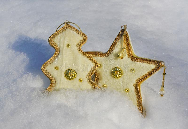 Christmas decoration in snow royalty free stock photo