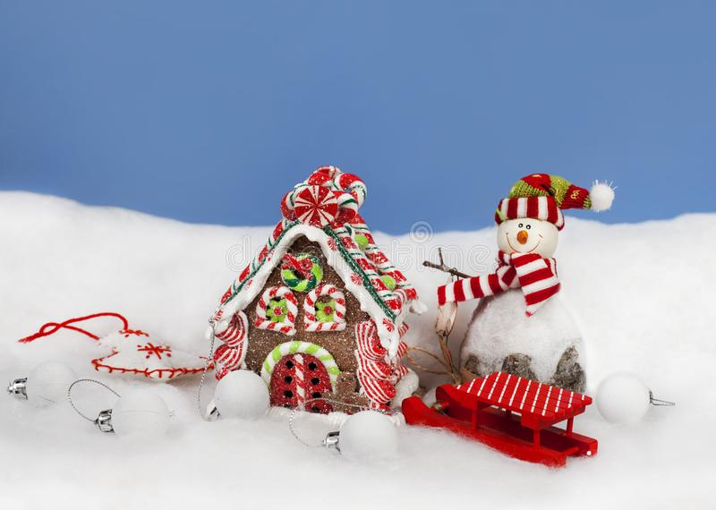 Christmas decoration in snow stock image