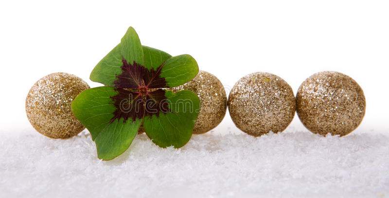 Christmas decoration with snow and cloverleaf. Christmas decoration with snow isolated on white background.Lucky symbols: four-leaf clover and balls . Green royalty free stock image