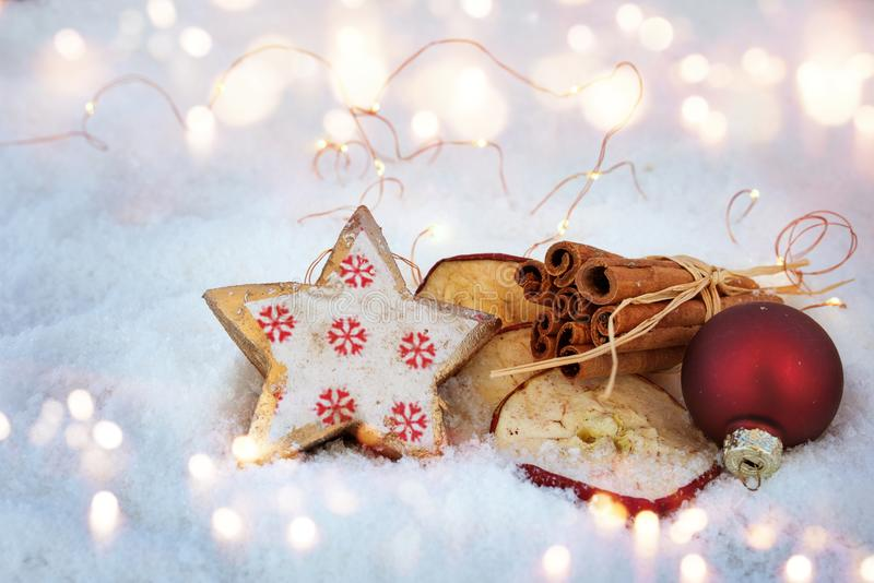 Christmas decoration in snow with ingredients for baking royalty free stock image