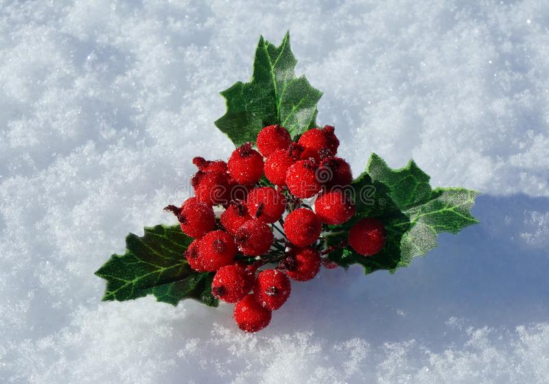 Christmas decoration in snow stock photography