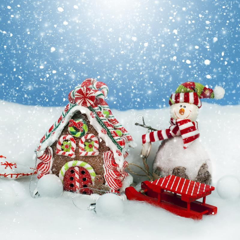 Christmas decoration in snow stock photo