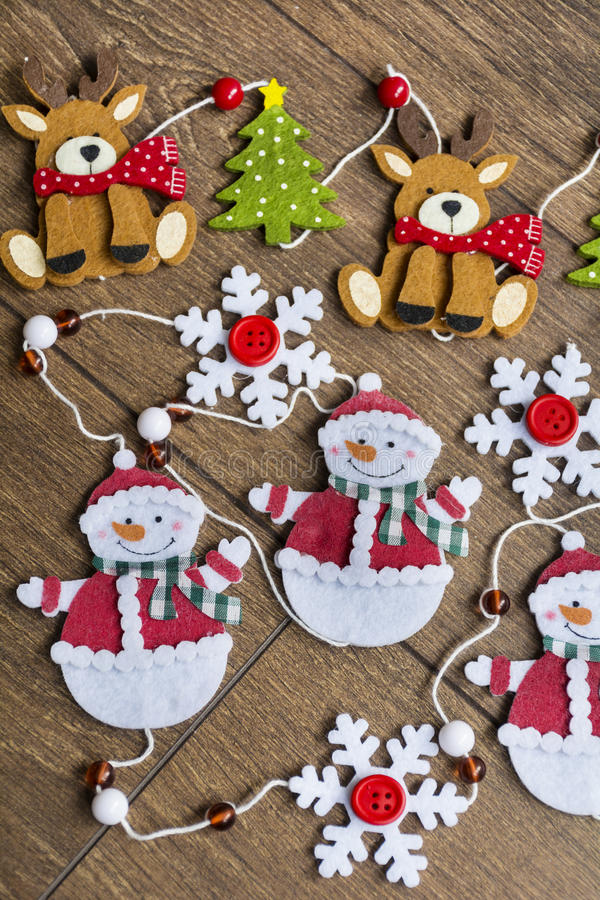 Christmas decoration. Christmas snowmans and deers for home decoration stock images