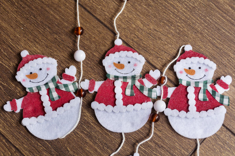 Christmas decoration. Christmas snowmans for home decoration stock photo