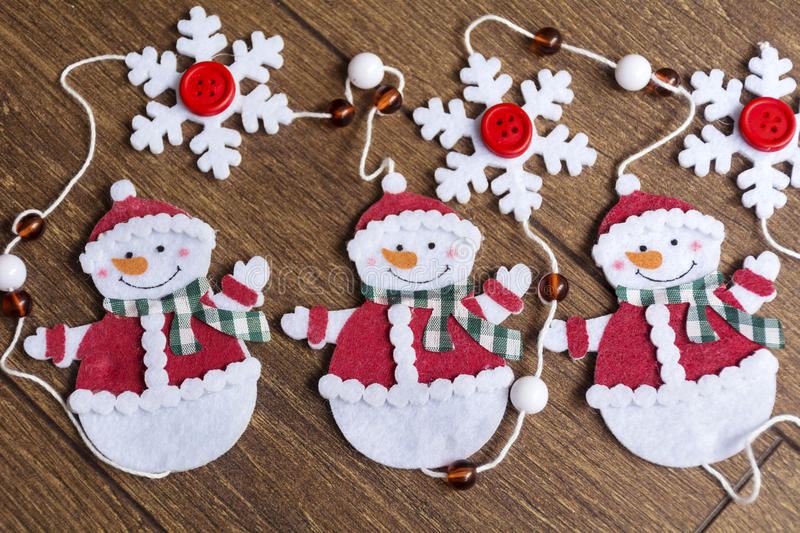 Christmas decoration. Christmas snowmans for home decoration royalty free stock photography