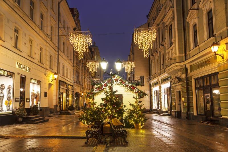 Christmas decoration Stoleshnikov lane, Moscow. Russia stock photos