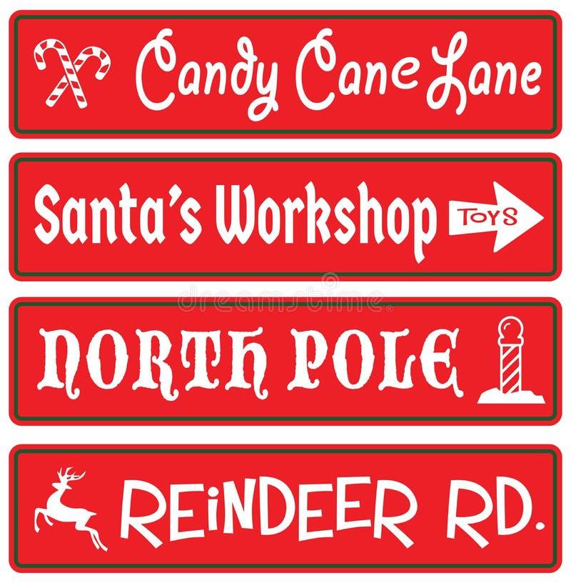 Christmas Decoration Street Signs Candy Cane Santas Workshop North Pole Reindeer Rudolf stock illustration