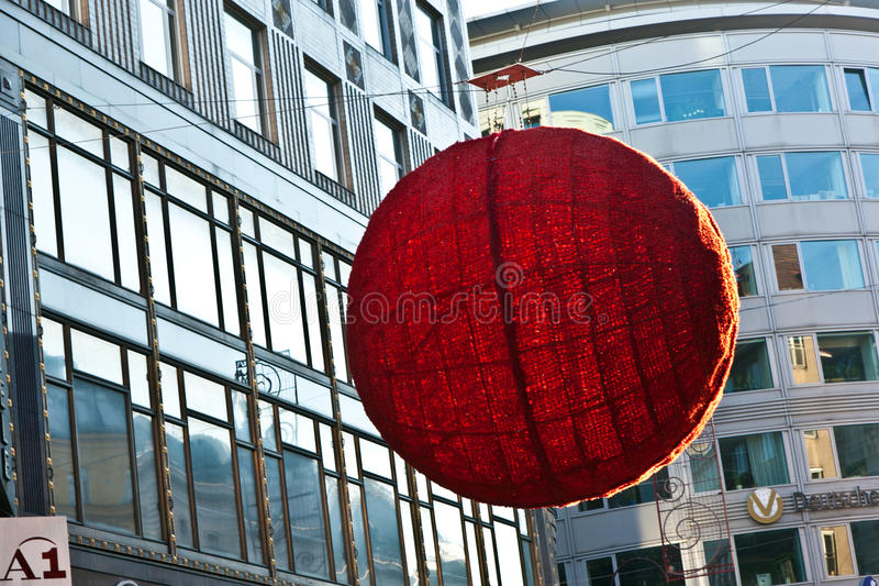 VIENNA, AUSTRIA   NOVEMBER 26: Streets In The First District Are Decorated  With Red Christmas Ball Ornament In The Shopping Streets On November 26, ...