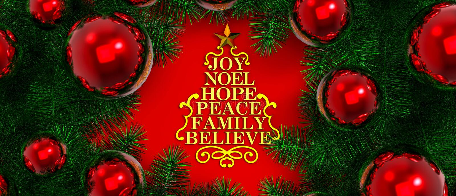 Merry christmas / Christmas Decoration. Stylized Christmas tree form with words stock illustration