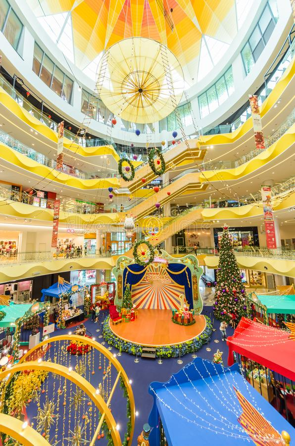 Christmas decoration in Sunway Velocity Mall. People can seen exploring and shopping around it. Kuala Lumpur,Malaysia - December 11,2017 : Christmas decoration royalty free stock photography