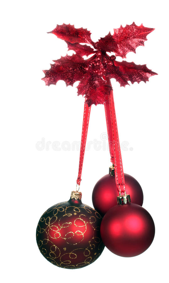 Christmas decoration with three red balls royalty free stock photography