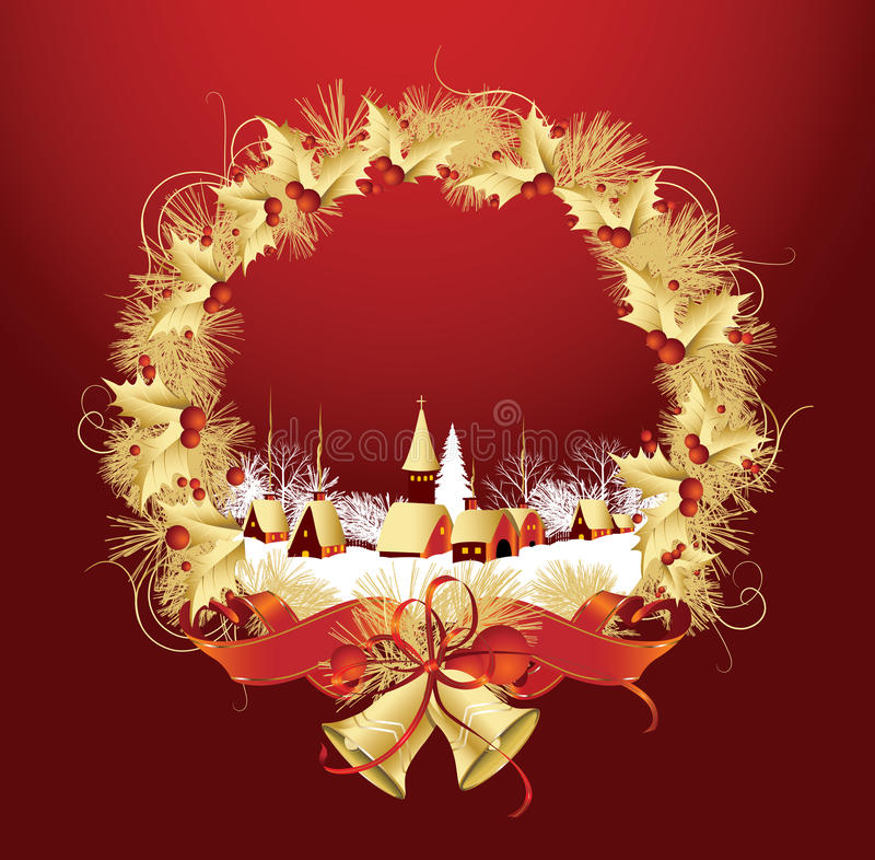 Download Christmas Decoration With A Town In Red Color. Stock Vector - Image: 16119450