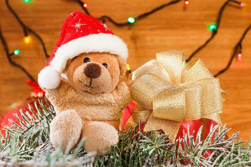 Christmas decoration, toys teddy bear. Xmas concept. Christmas decoration, toys teddy bear. Concept Merry Xmas royalty free stock photo