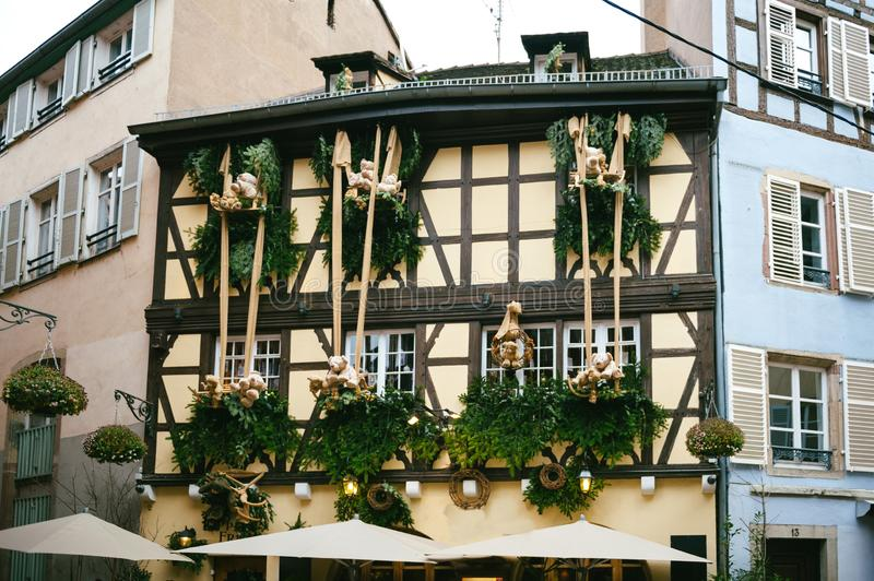 Christmas decoration on the traditional Alsatian house stock images