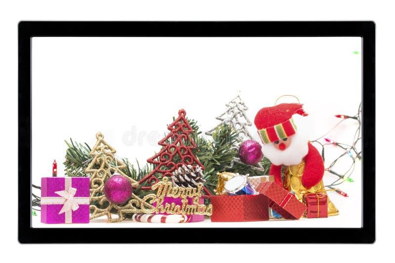 Christmas decoration with TV isolated on white background stock image