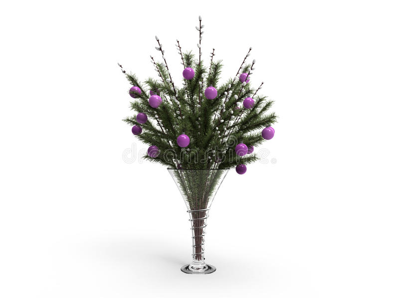 Download Christmas Decoration In A Vase With Willow Stock Illustration - Illustration of holiday, decoration: 16810116