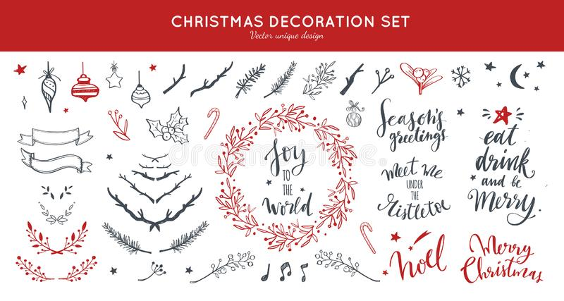 Christmas decoration vector hand drawn set. Set doodle festive laurels and brunches, wreath for Christmas, New Year royalty free illustration