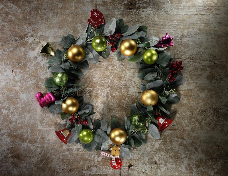 Christmas decoration on vintage wood background. High-definition stillife photograpy dramatic light royalty free stock photo