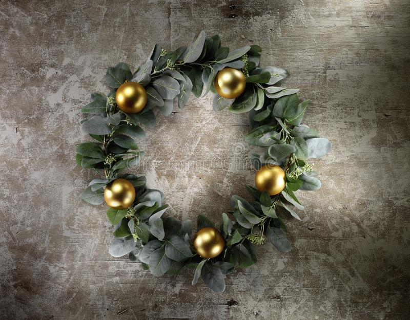 Christmas decoration on vintage wood background. High-definition stillife photograpy dramatic light. shiny lightly object stock image