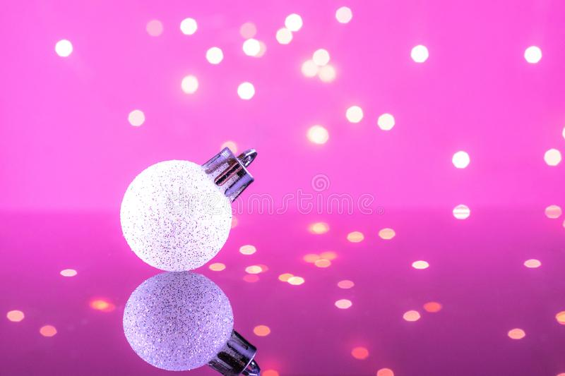 Christmas decoration white ball with twinkle bokeh light. Xmas bubble decoration. Merry Christmas card. Winter xmas theme stock image