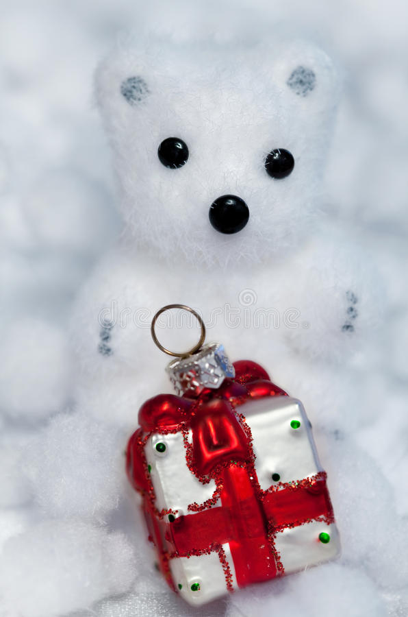 Christmas decoration white bear cub stock photography