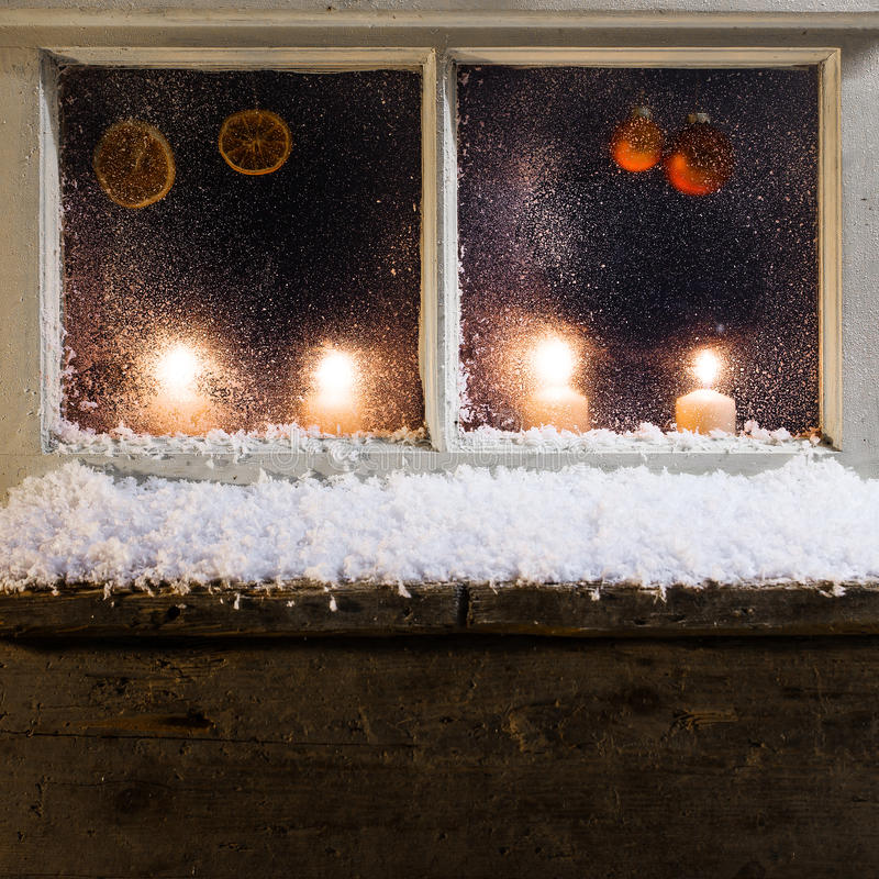 Christmas decoration on a window 30 stock image