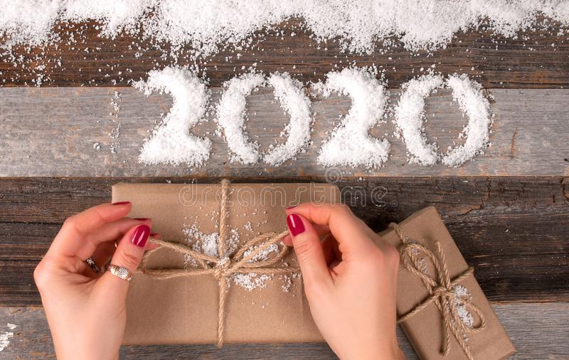 Happy New Year 2020 and Christmas gift stock images