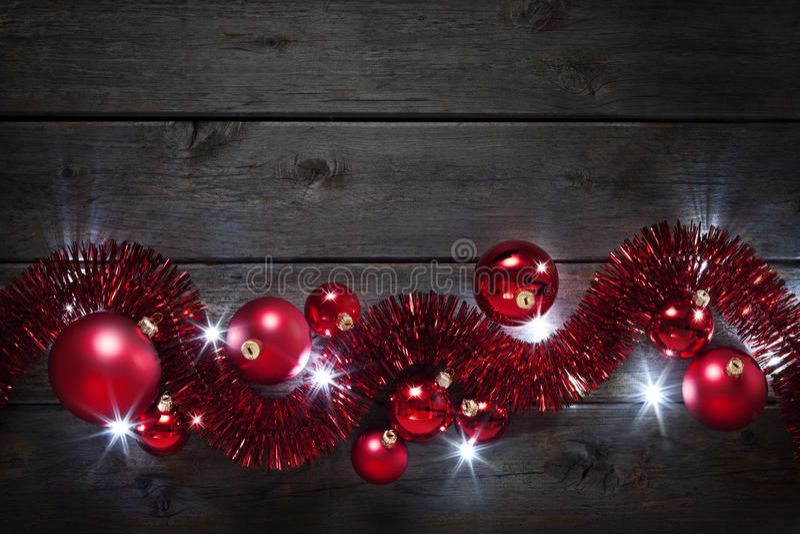 Christmas Lights Decoration Wood Background royalty free stock photo