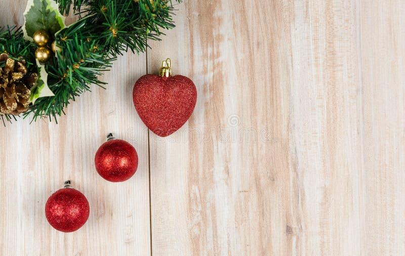 Christmas decoration. On wood background royalty free stock image