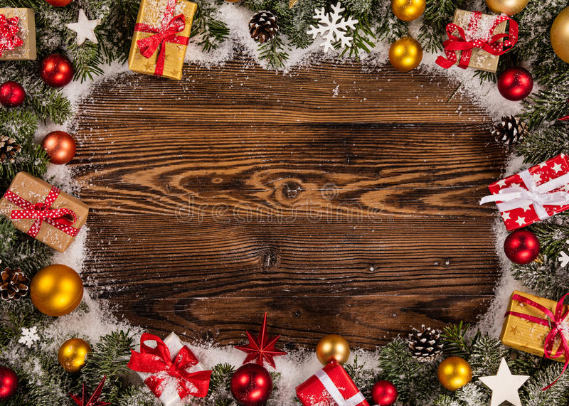 Christmas decoration on wooden background. Close-up stock image