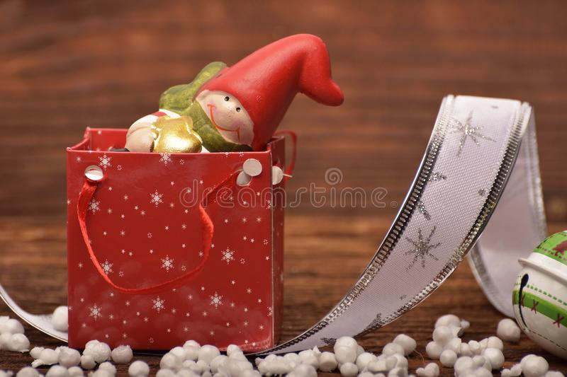 The Christmas decoration on wooden boards royalty free stock images