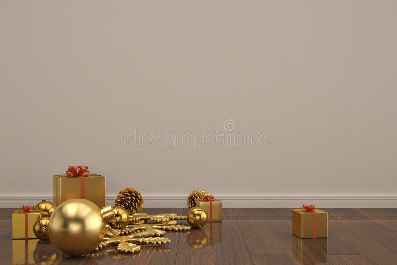 Christmas decoration on wooden floor 3D illustration. Christmas decoration on wooden floor 3D illustration stock illustration