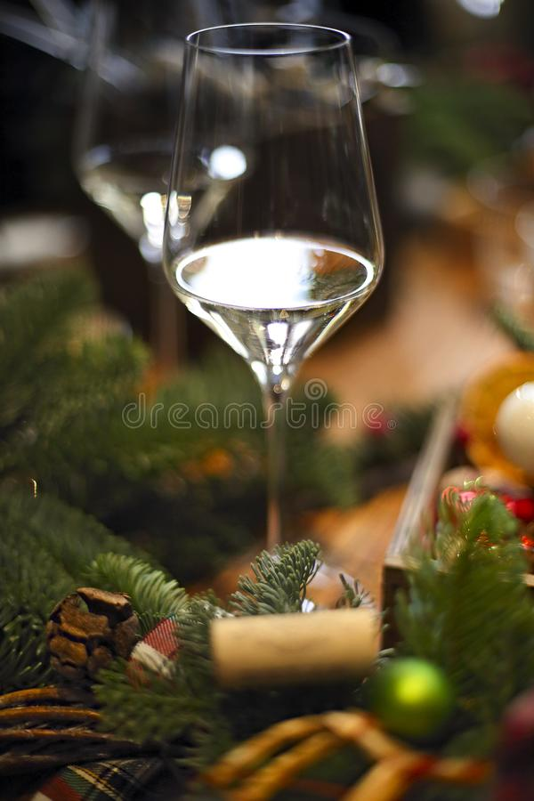 Christmas decoration on the wooden table. Traditional Christmas table setting, Christmas decoration on the wooden table stock image