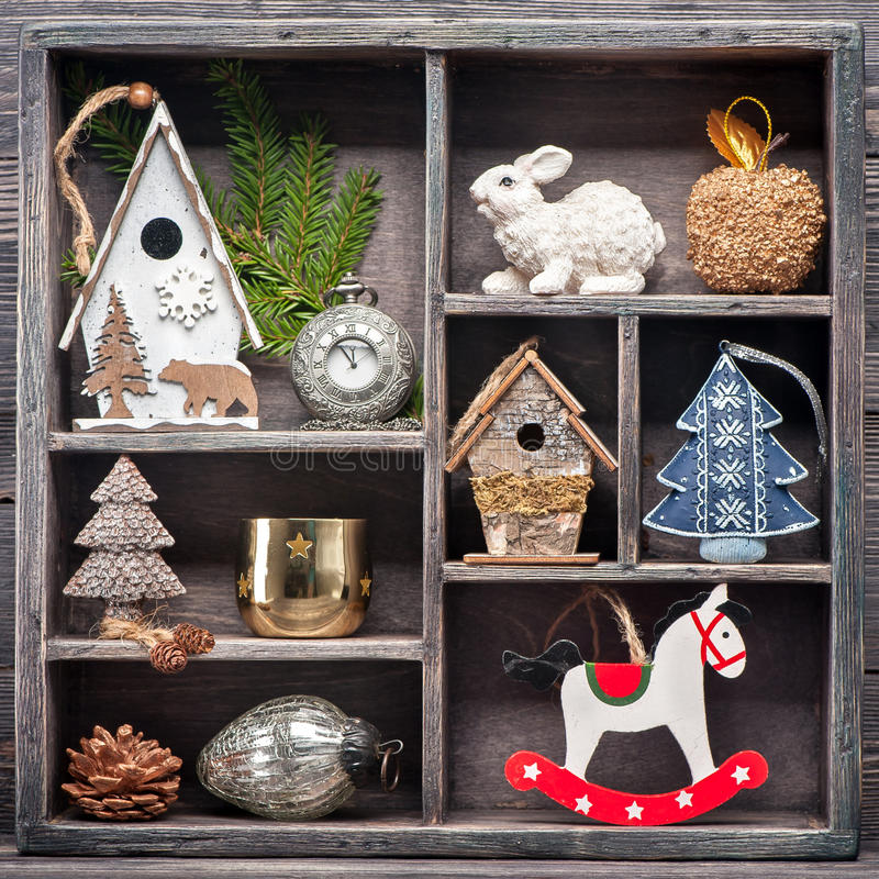 Christmas decoration in a wooden vintage box. Christmas collage royalty free stock image