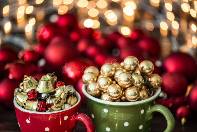 Christmas decoration. Xmass balls and ornament royalty free stock photography