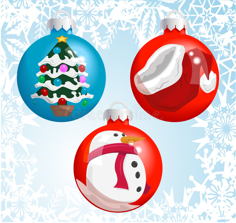 Christmas decorations. Christmas baubles with pictures of a Santa hat, snowman, and Christmas tree reflected or painted on them! Shading by blends, no meshes royalty free illustration