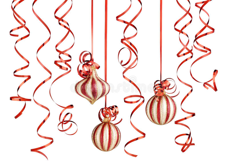 Christmas decorations. With ribbons and balls isolated over white background royalty free stock photos