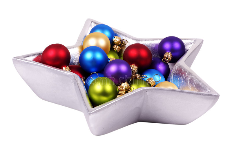 Christmas Decorations. Bowl of Christmas Decorations royalty free stock images