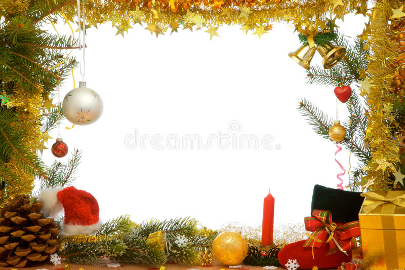 Christmas decorations. Christmas decorations of ball, ribbons and garlands stock images
