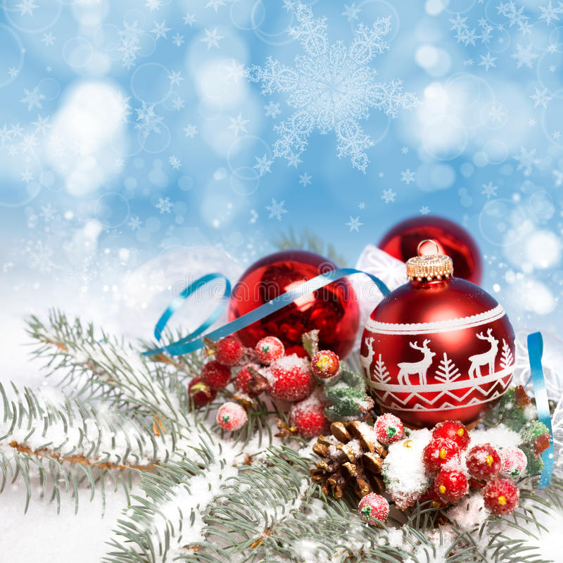 Christmas decorations on abstract background stock photos