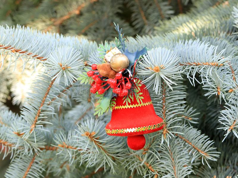 Christmas decorations in anticipation of the event. Christmas decorations on the branches of a beautiful live spruce in anticipation of the event stock image