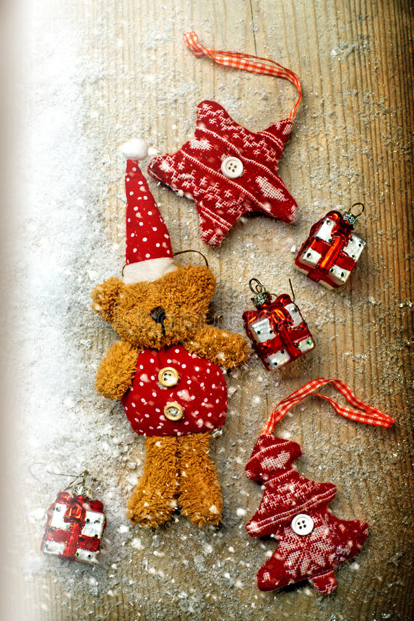 Christmas decorations, bear and decor royalty free stock photo