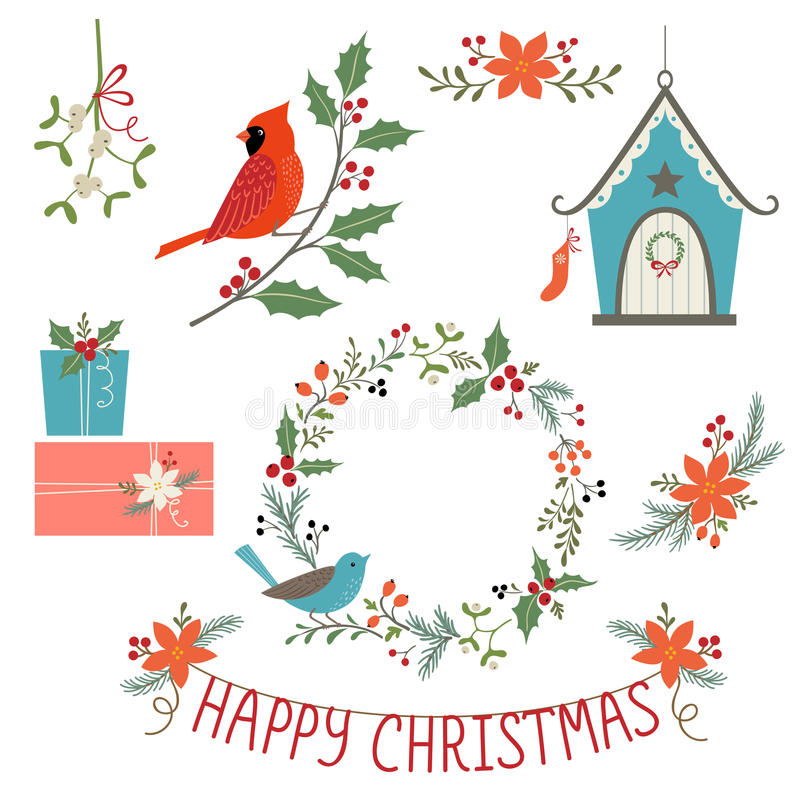 Christmas decorations and birds vector illustration
