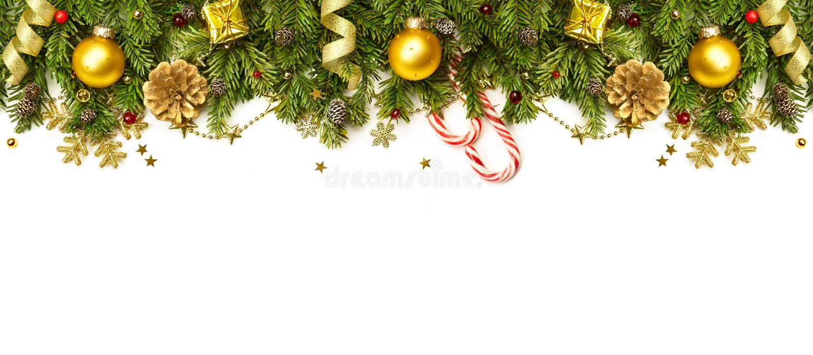 Christmas Decorations Border isolated on white background royalty free stock photography