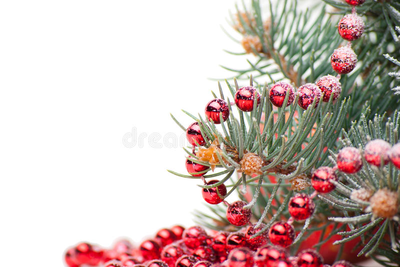 Christmas Decorations With Branch Of Tree On White Royalty Free Stock Photo