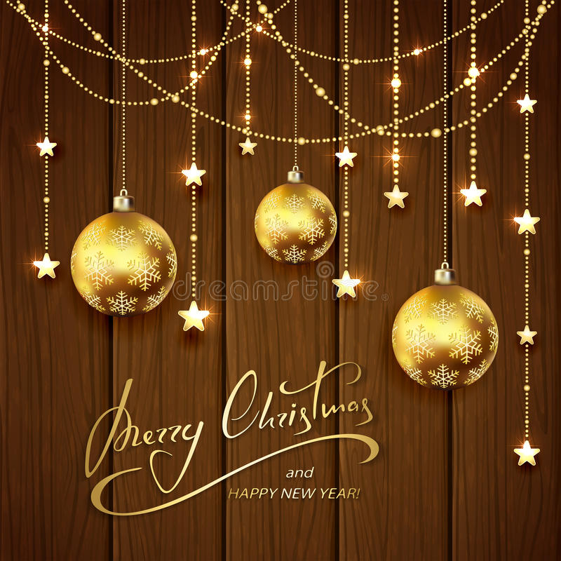 Christmas decorations on brown wooden background. Christmas balls and golden decorative stars on brown wooden background, lettering Merry Christmas and Happy New royalty free illustration