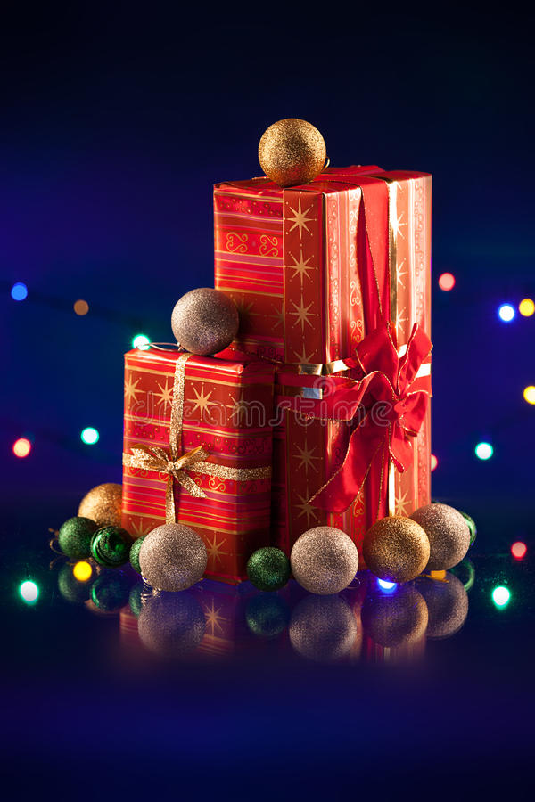 Download Christmas Decorations Bulb And Lights With Gift Stock Photo - Image of closeup, gift: 36022622